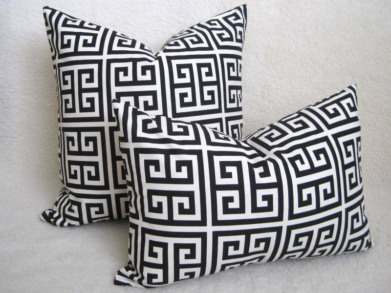 Greek Key Pillow Cover - Black and White
