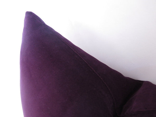 Cotton Velvet Pillow Cover - Plum