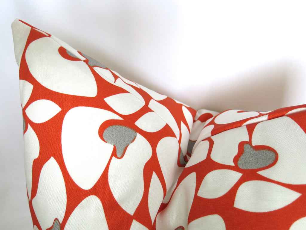 Mod Floral Outdoor Pillow Cover - Orange