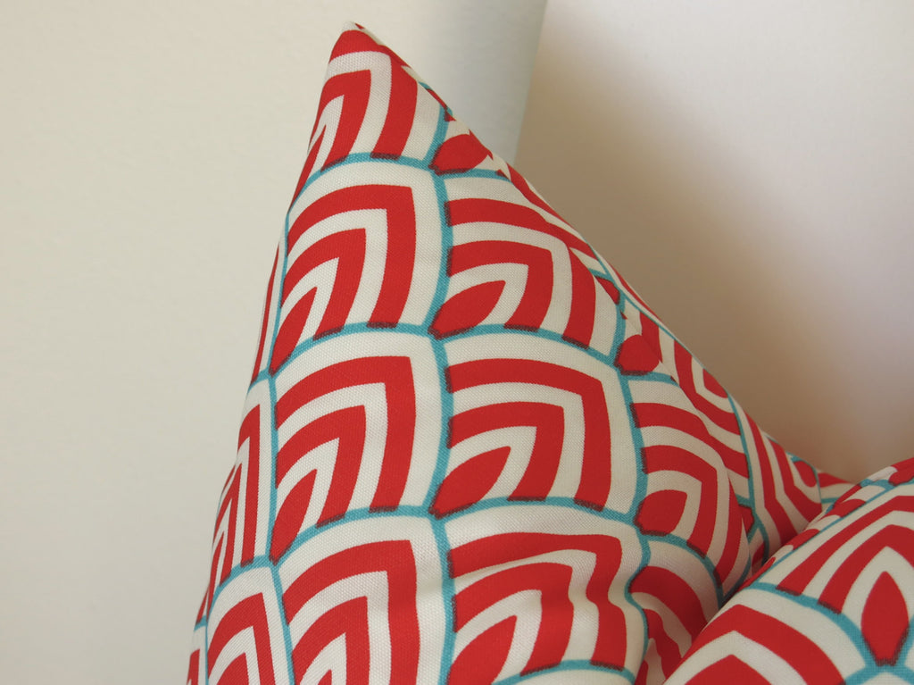 Scallop Outdoor Pillow Cover - Coral