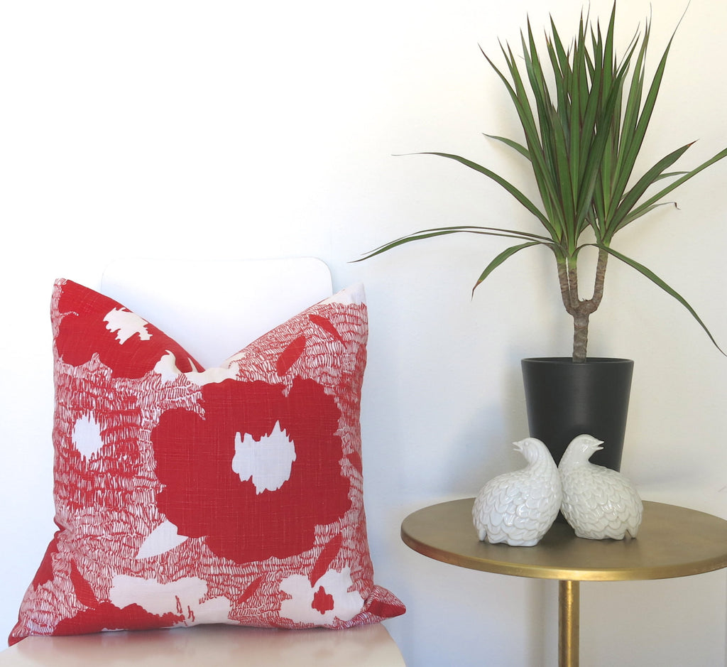 Poppy Pillow Cover - Red