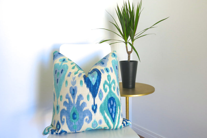 Jewel Ikat Linen Pillow Cover - Turquoise