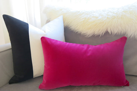 Velvet Colorblock Pillow Cover -  Black and White