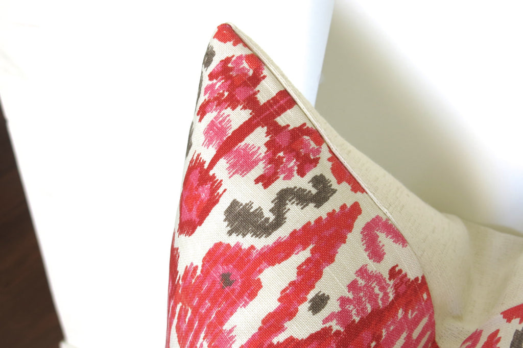 Stella Ikat Pillow Cover - Coral