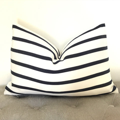 Set of 2 - Stripe Linen Pillow Cover - Blue