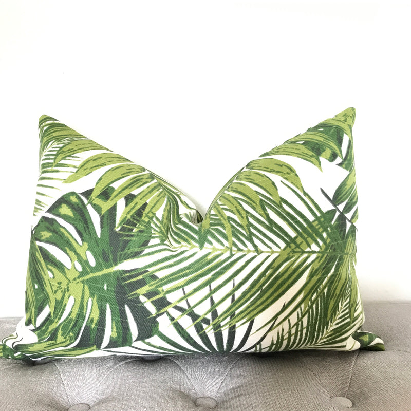 Kentia Palm Leaf Pillow Cover - Green and White