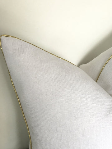 Gilded - White Linen Pillow Cover w/ Gold Piping