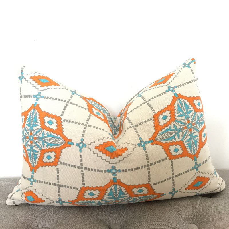 Medallion Pillow Cover - Orange and Turquoise