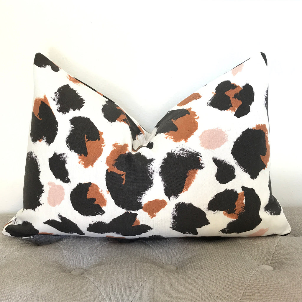 Leopard spots Pillow Cover - Black and Blush Pink