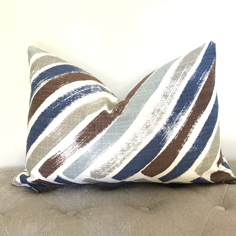 Greek Key Pillow Cover - Navy