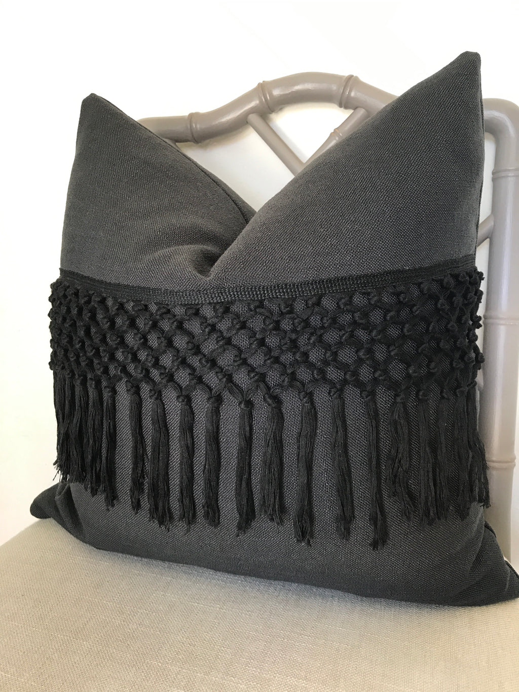 Macrame Fringe Pillow Cover - Black