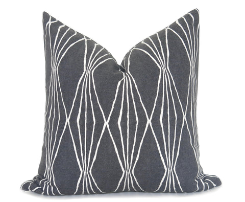 12x18 inch Chevron Pillow Cover - Black and Linen
