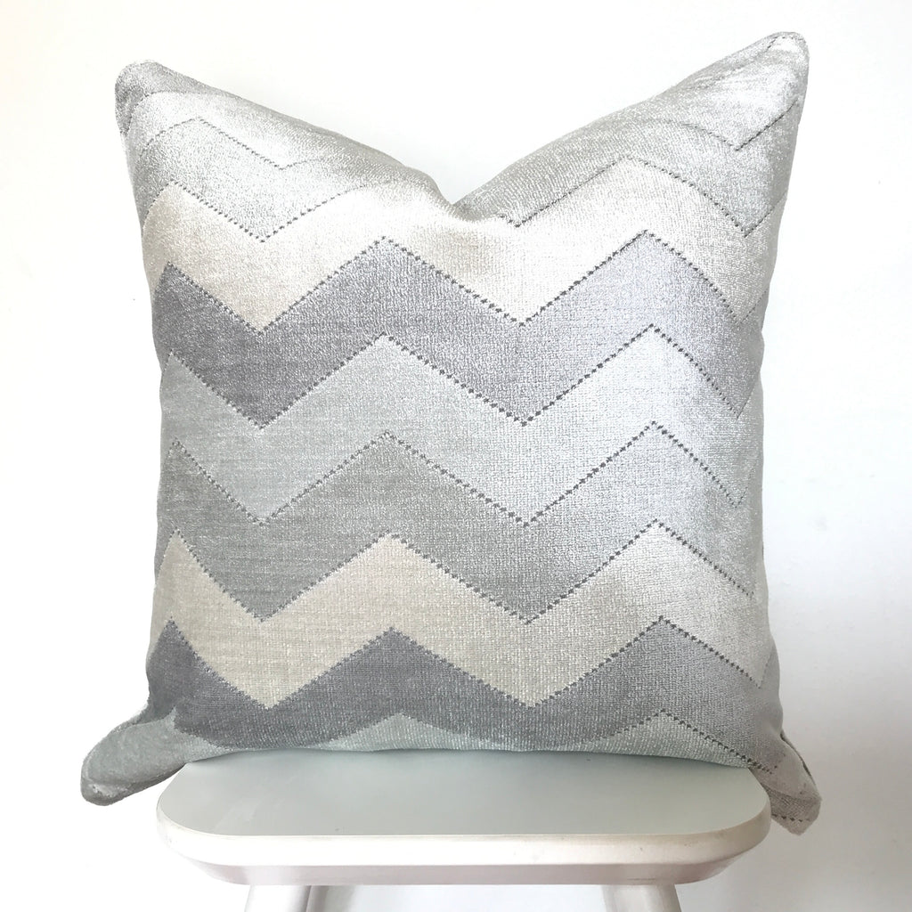 Velvet Chevron Pillow Cover - Sky Blue
