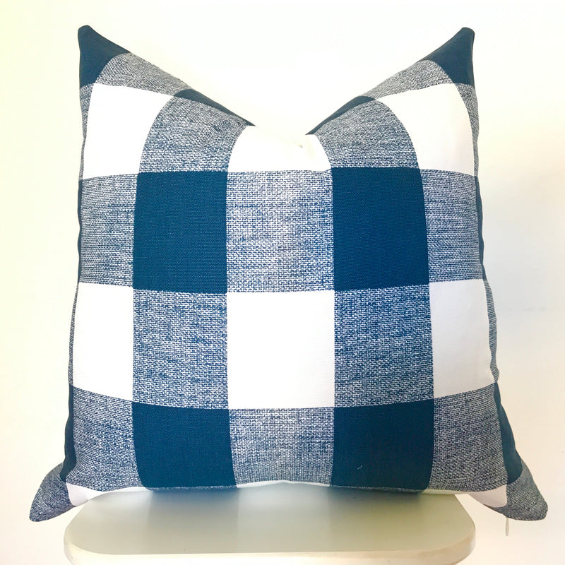 Buffalo Check Pillow Cover - Navy