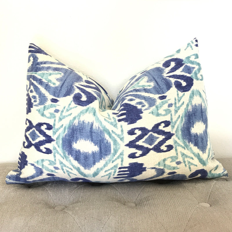 Ikat Outdoor Pillow Cover - Blue