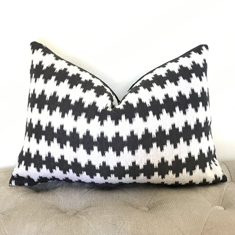 Charcoal Palm Pillow Cover - Charcoal and Beige