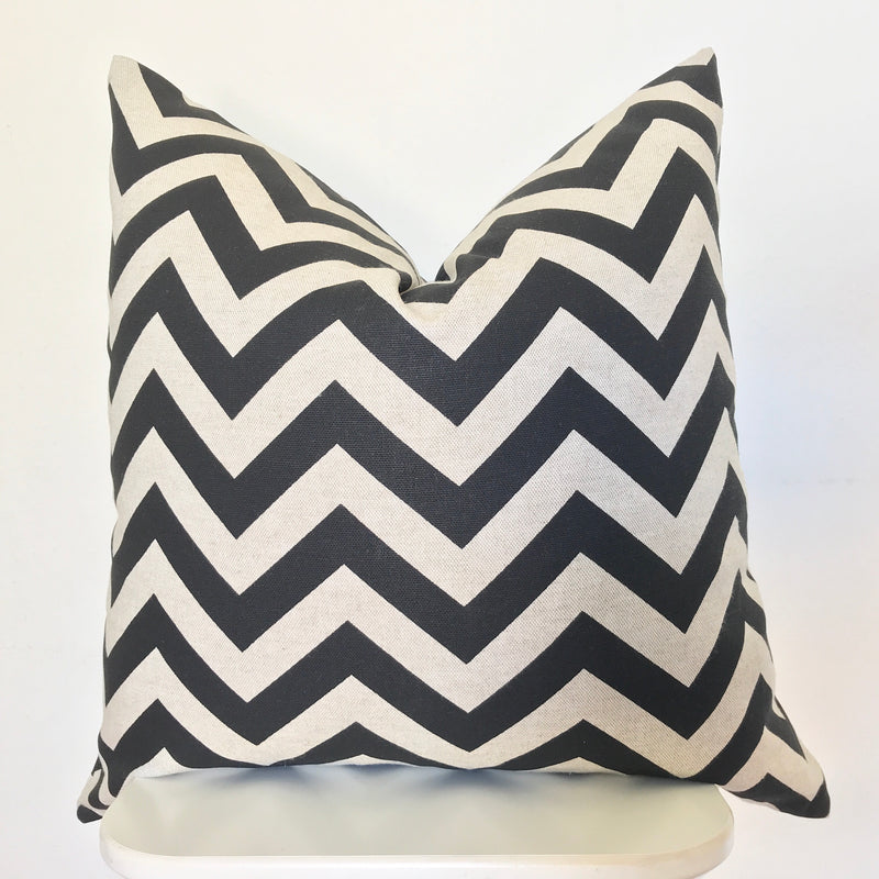 Chevron Pillow Cover - 12x18 inch  - Black and Linen