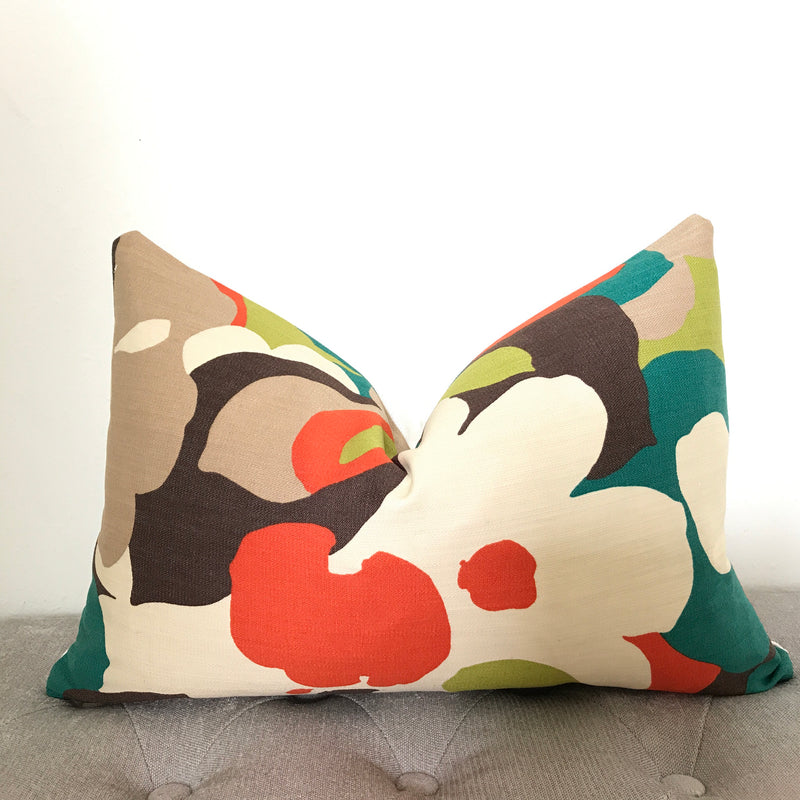 Floral Pillow Cover - Cream and Orange