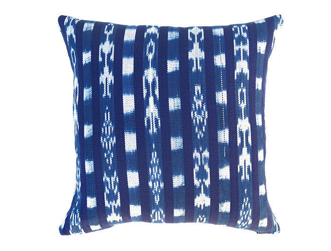 LIMITED 015 - Guatemalan Ikat Stripe Pillow Cover - Indigo
