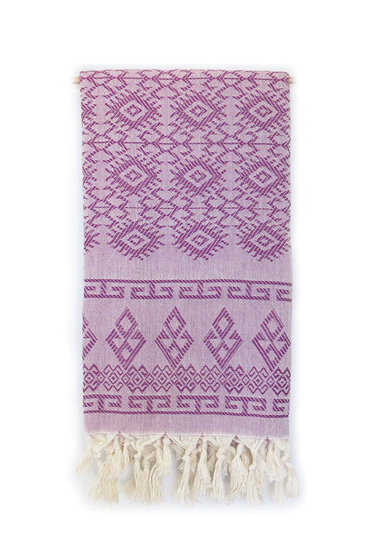 Greek Key Turkish Throw - Deep Plum