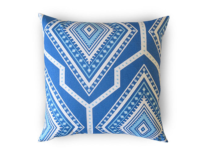 Mayan Outdoor Pillow Cover - Royal Blue