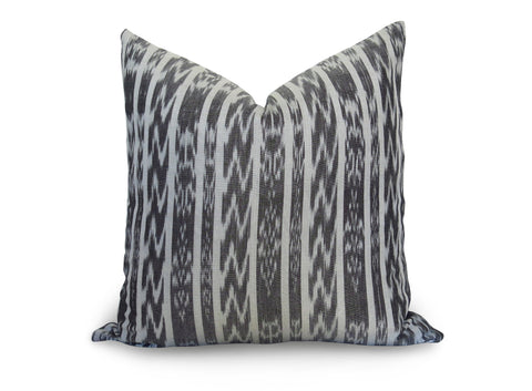 LIMITED 007 - Guatemalan Ikat Stripe Pillow Cover - Charcoal Gray