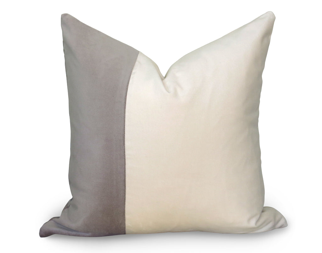 Classic Colorblock Pillow Cover - Gray Velvet