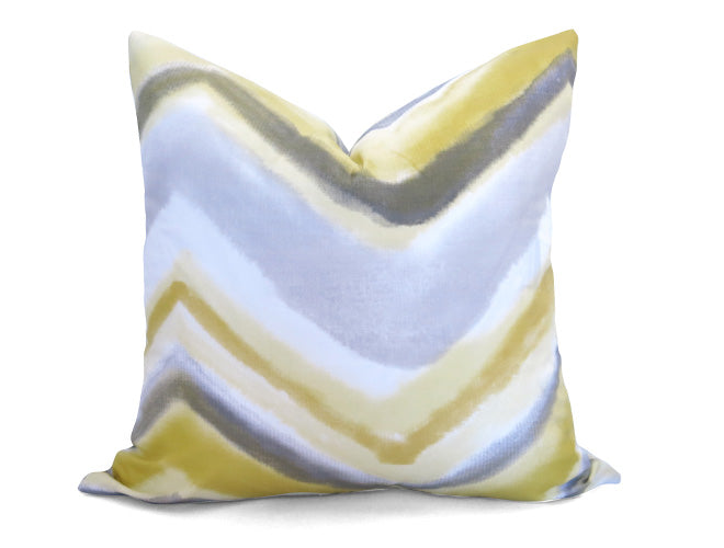 Watercolor Chevron Pillow Cover - Pale Yellow