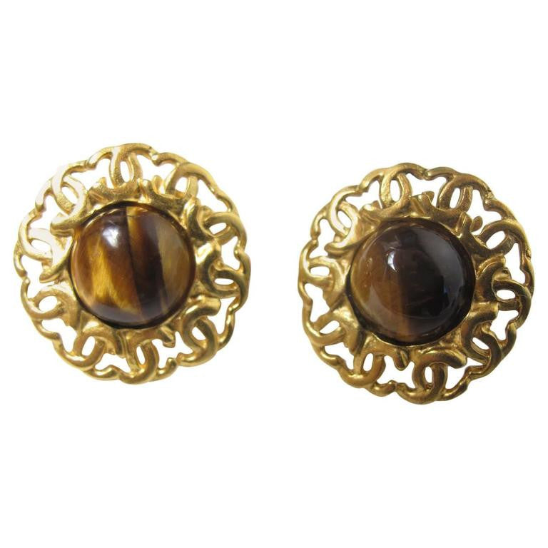 "1995 Chanel Tiger Eye Earrings ""CC"""