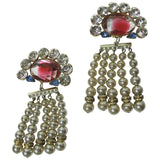 Oversized Rhinestone and Faux Pearl Earrings