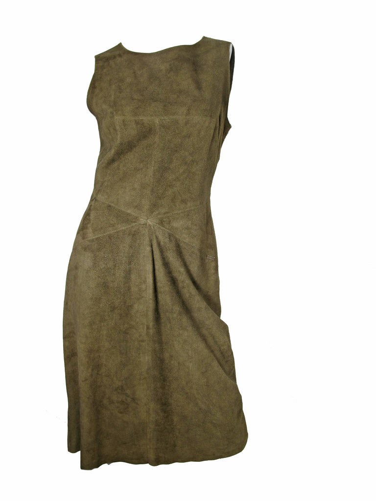 CHANEL green suede dress