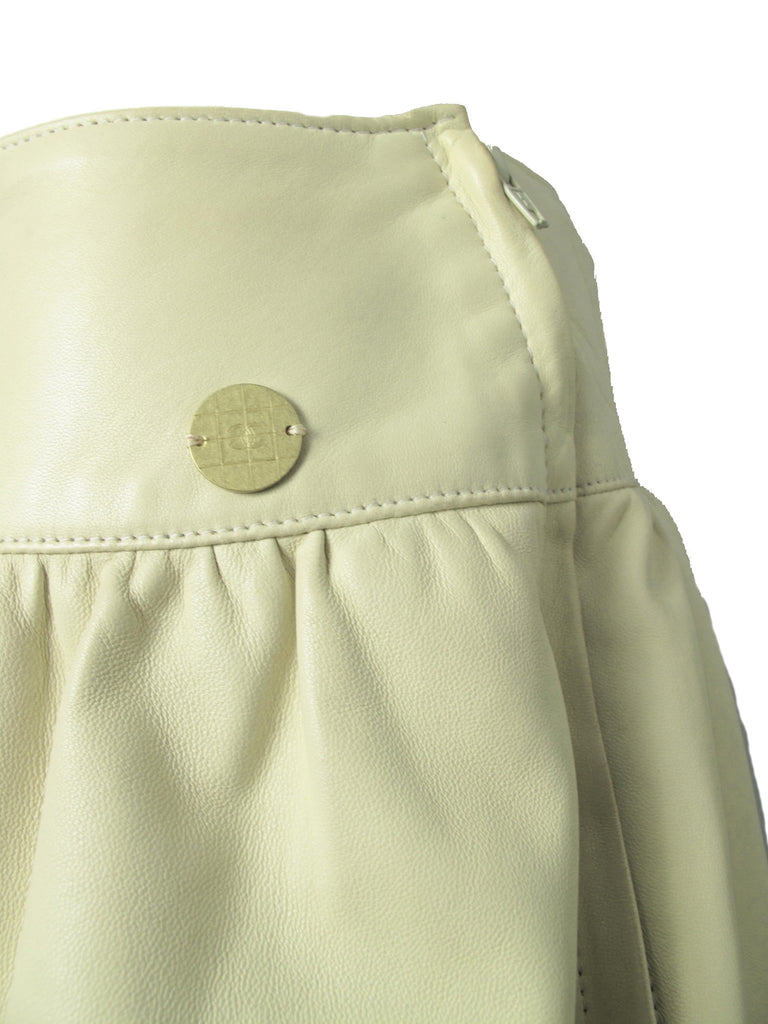 CHANEL cream leather skirt