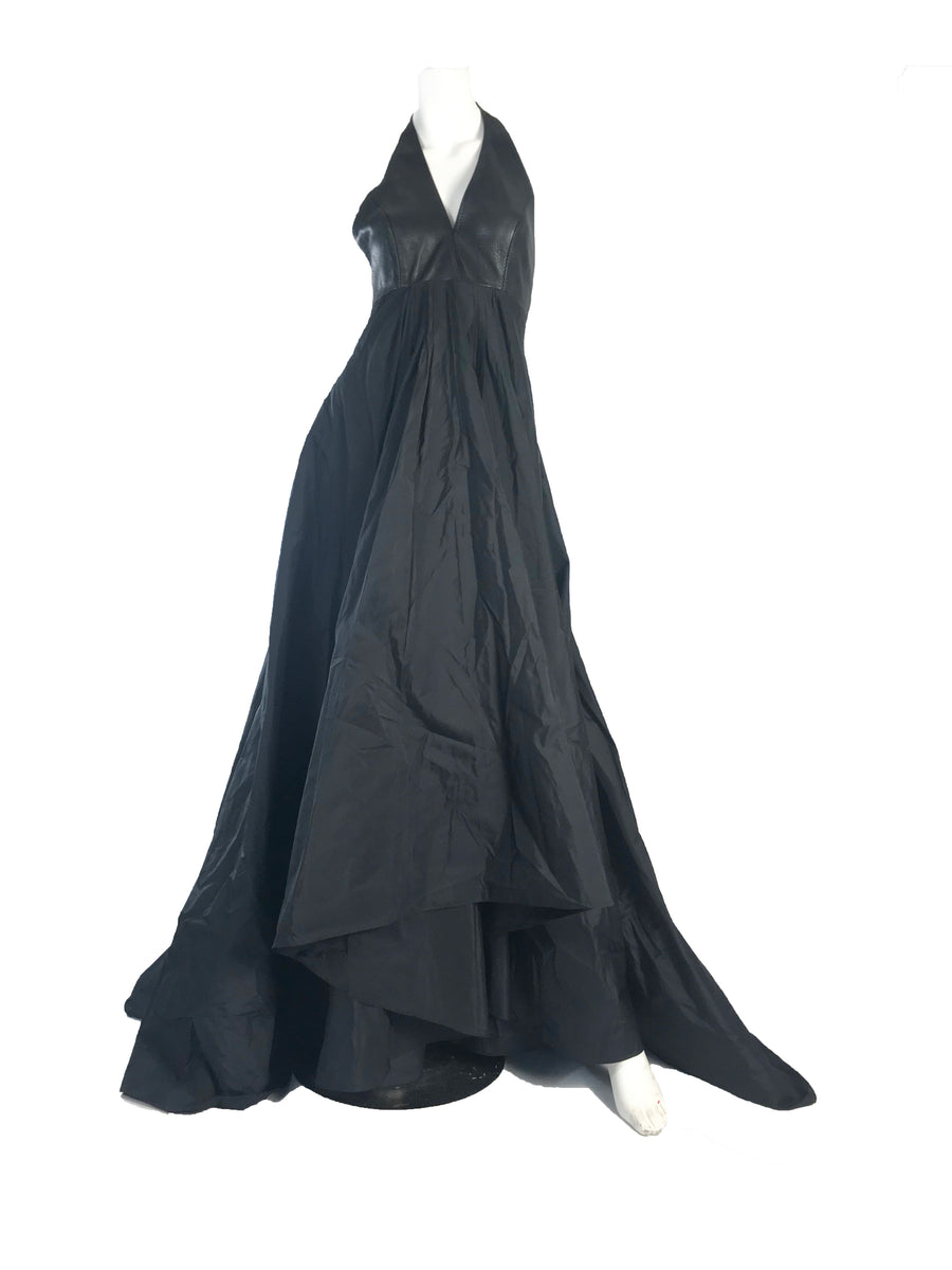 1990s DONNA KARAN Leather and Silk Halter Gown