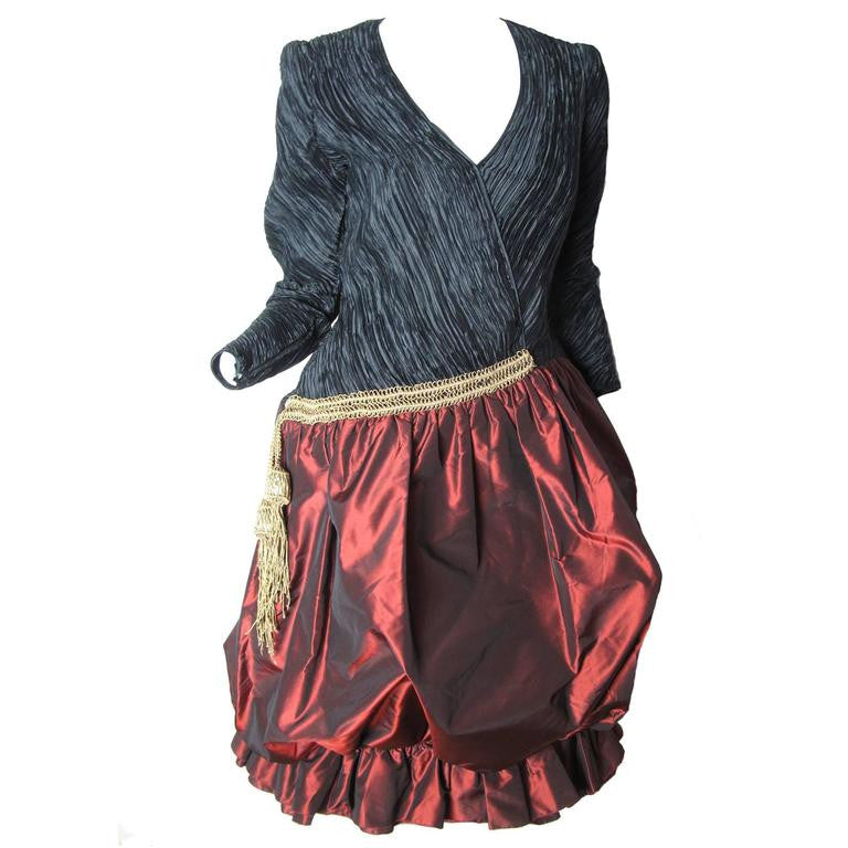 Mary McFadden Dress with Tassel and Balloon Skirt