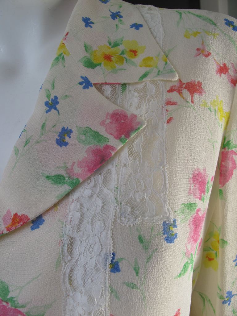 UNGARO Floral and Lace Blouse