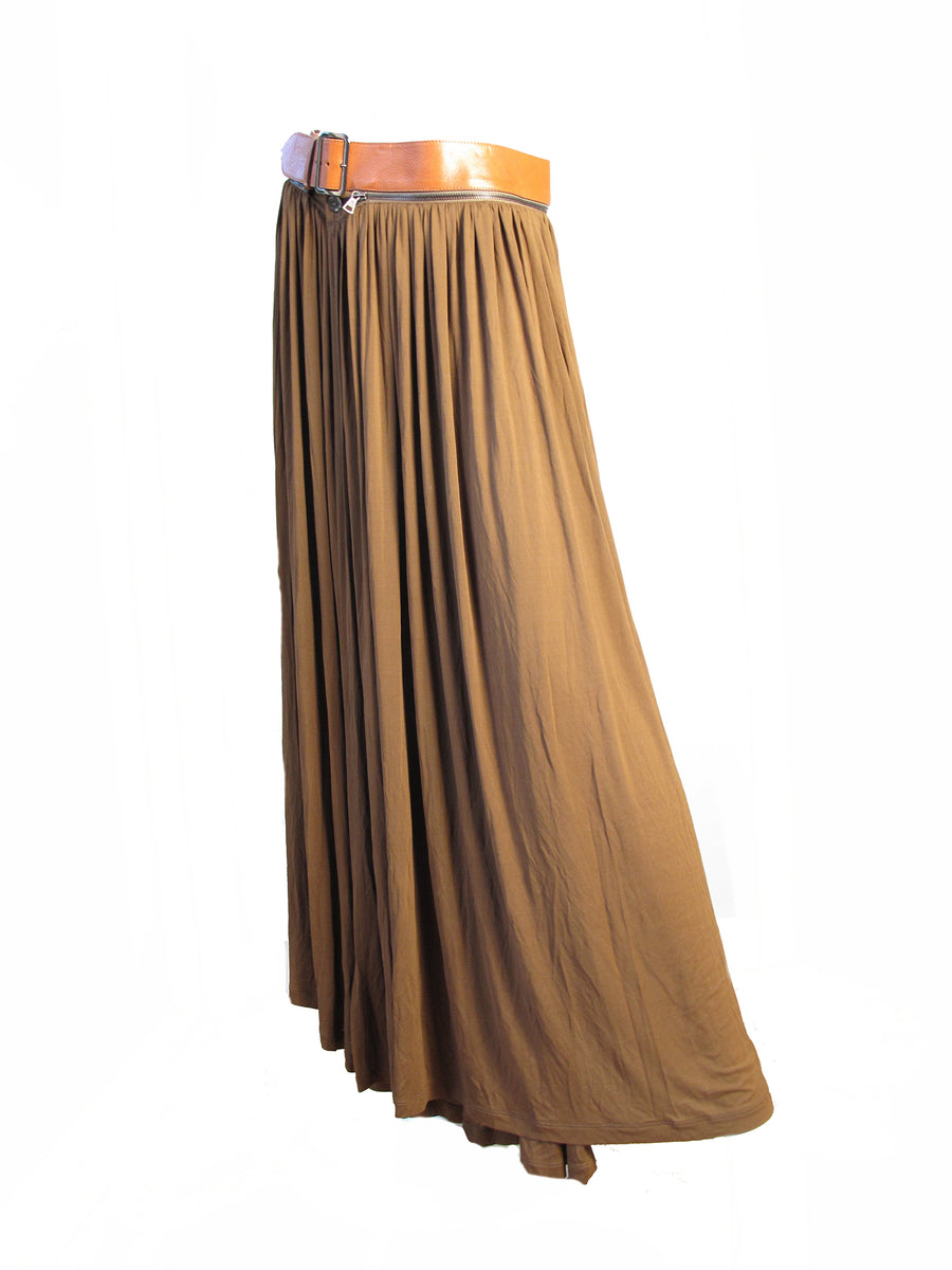 1990s Gaultier Silk Skirt with Leather Removable Belt