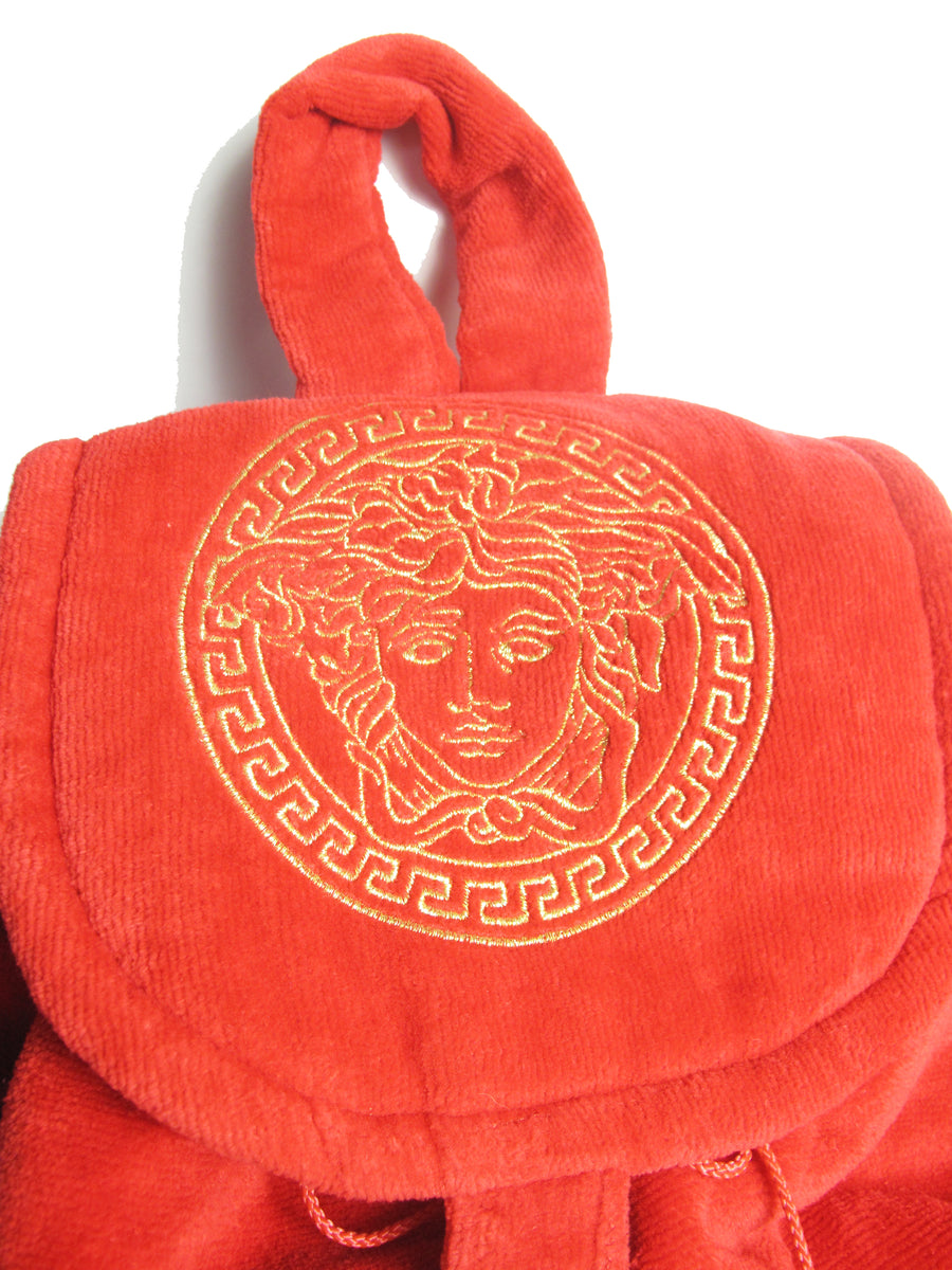 1990s VERSACE Large Red Terry Medusa Backpack, new