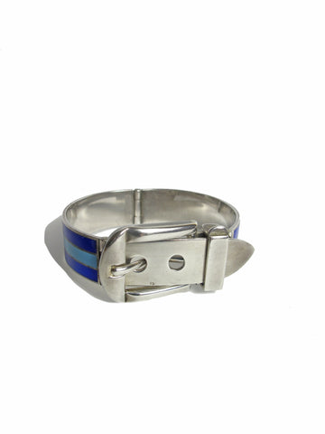GUCCI 1970s Enamel and Sterling Silver Buckle Cuff