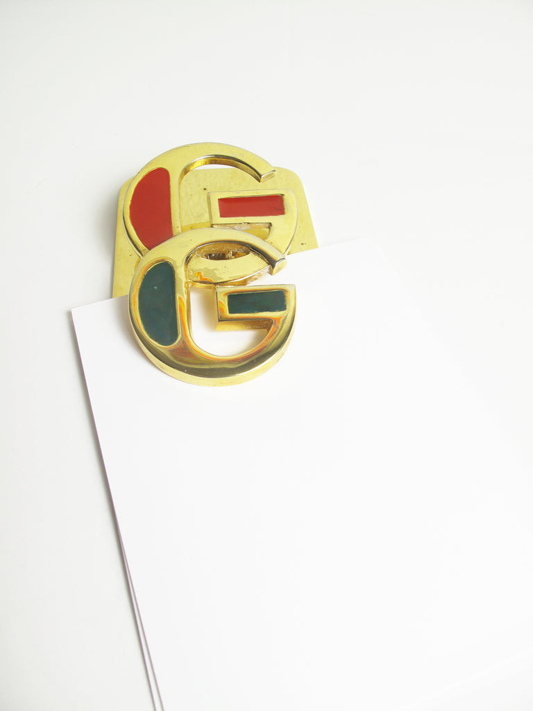 Rare GUCCI 1970s Enamel and Brass Desk Clip
