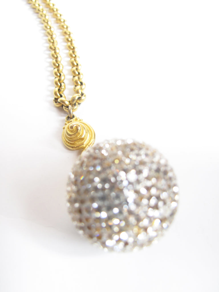 DEANNA HAMRO Pave Disco Ball Crystal Necklace