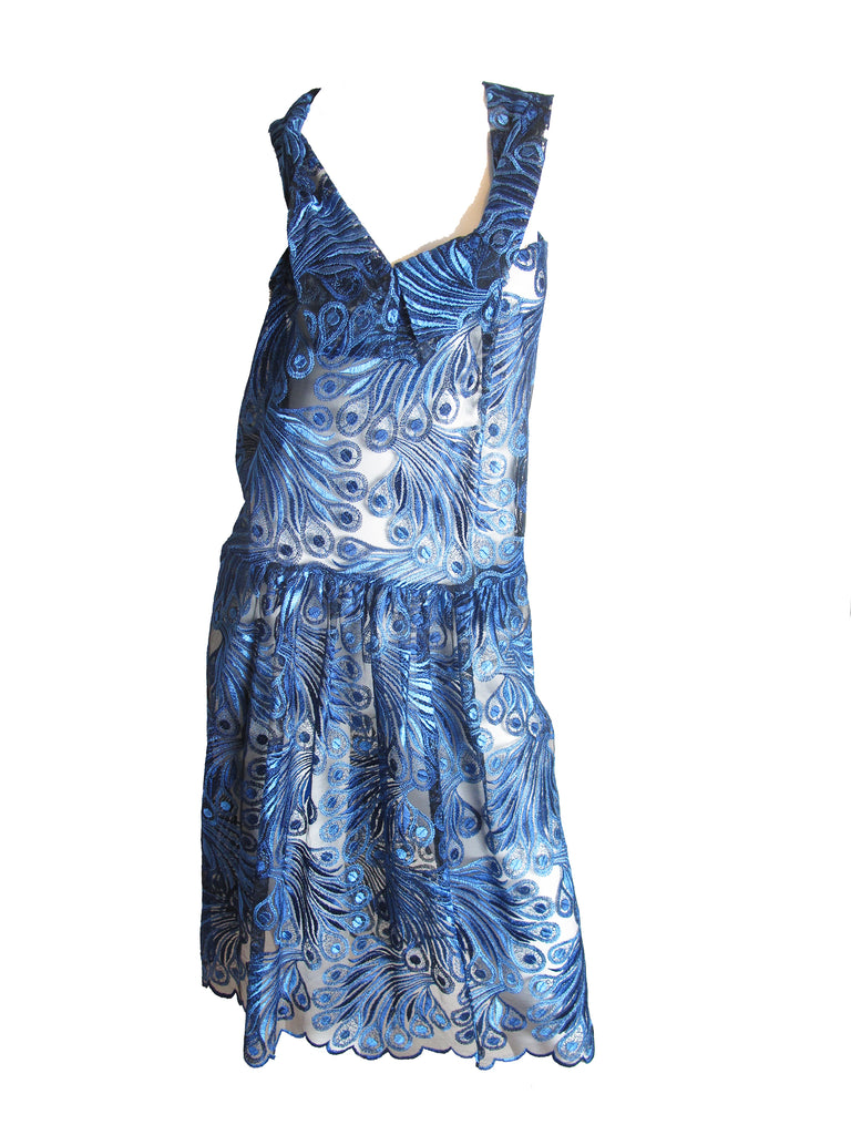 Junya Watanabe Blue Lace Dress Runway