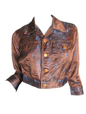 JEAN PAUL GAULTIER Cropped skull satin jacket