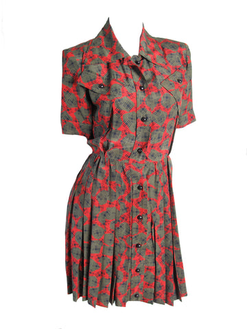 YVES SAINT LAURENT silk printed dress