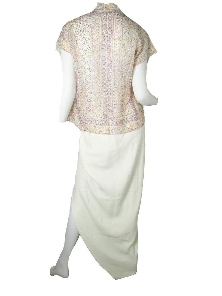 HALSTON Beaded Jacket and Skirt
