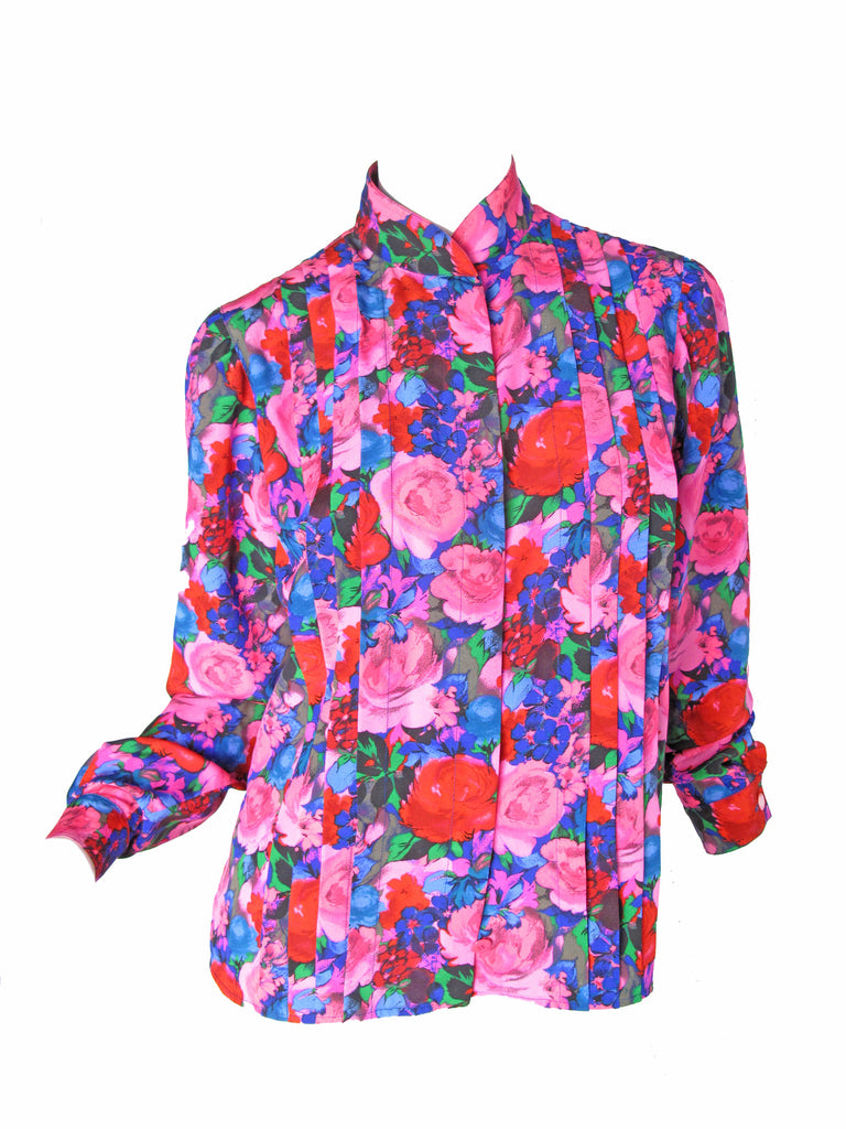 UNGARO floral blouse with pleating