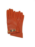 Hermes Orange Kidskin and Lambskin Gloves