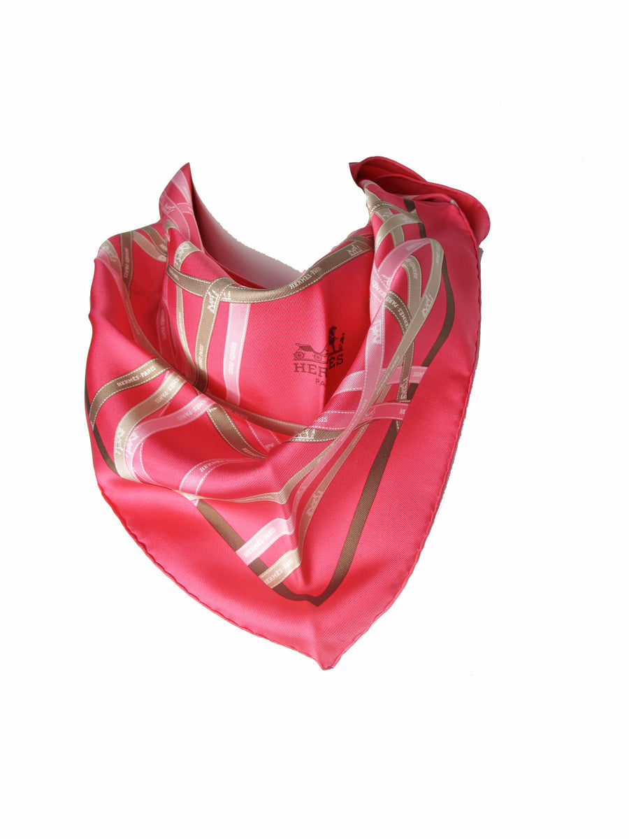 Hermes Bolduc Print Pink Silk Triangle Scarf with Box