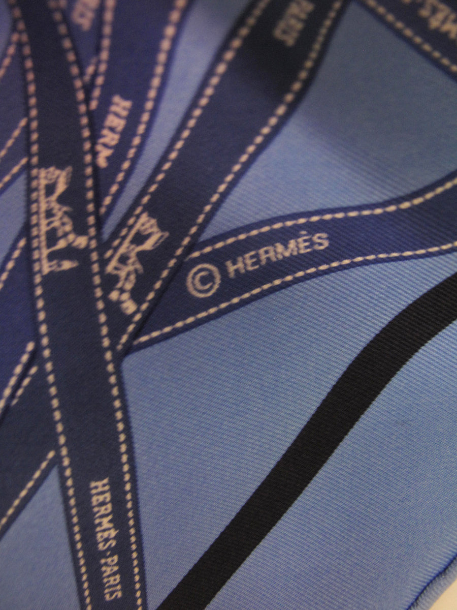 Hermes Bolduc Print Blue Silk Scarf with Box