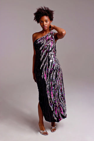 1980s BOB MACKIE beaded gown