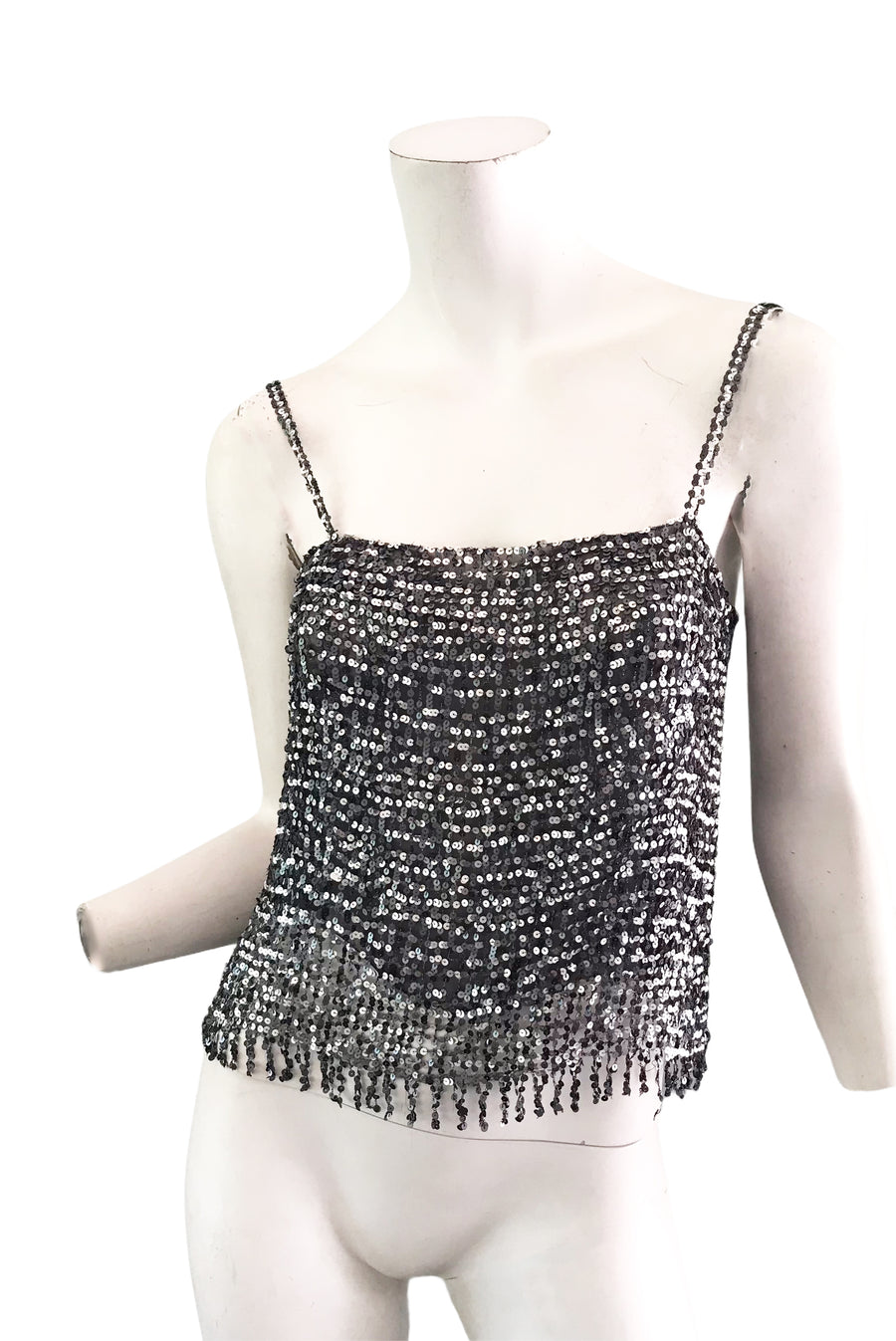 CHANEL silver sequin top